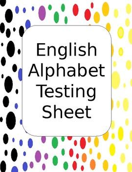 English Alphabet Record Testing Sheet
