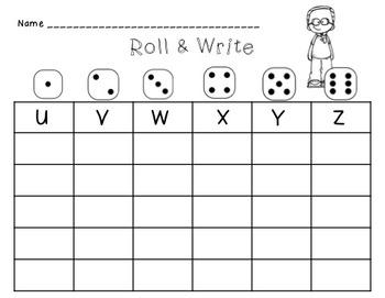 English Alphabet Roll & Write