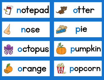 English Alphabet Word Wall Vocabulary Cards and Letter Cards