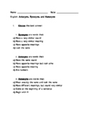 English Antonyms, Synonyms, and Homonyms - Font for Dyslexics