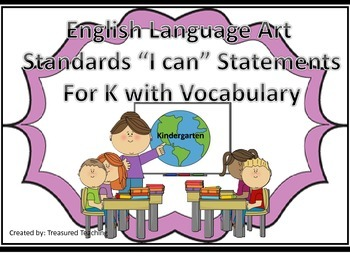 English Language Arts I Can Statements and Vocabulary for K