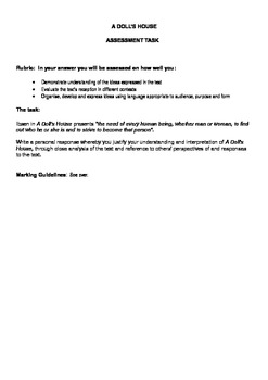English: Assessment Task and Marking Criteria - A Doll's House