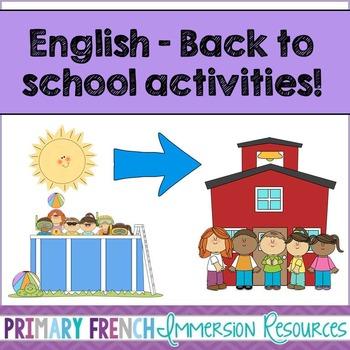 English - Back to school activities