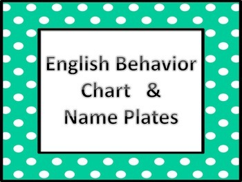 English Behavior Chart and Name Plates