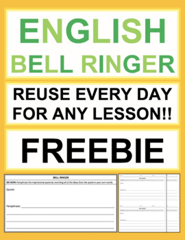English Bell Ringers - Common Core ELA Middle School or High School FREEBIE
