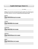 English Bellringer Sheet 1