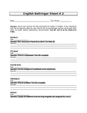 English Bellringer Sheet 2