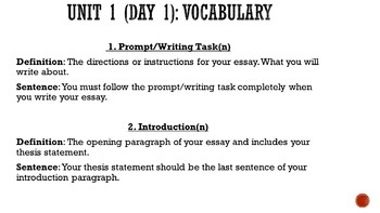 English Bellwork and Vocabulary Unit (SEMESTER-LONG)
