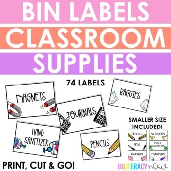 ENGLISH School Supplies Labels for Bins! 74 Labels!