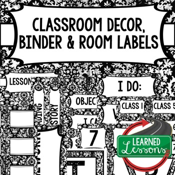 CLASSROOM DECOR, BINDER LABELS, ALL SUBJECTS, BLACK AND WHITE