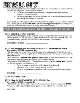 Examples Of English Essays  English  Cpt  Book Vs Movie  Comparison Essay Politics And The English Language Essay also Mental Health Essay Book Vs Movie Comparison Teaching Resources  Teachers Pay Teachers Analysis Essay Thesis