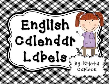 English Calendar Labels