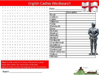 English Castles Wordsearch Sheet Starter Activity Keywords History England