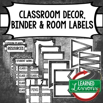 English Chalky Binder Covers and Classroom Labels