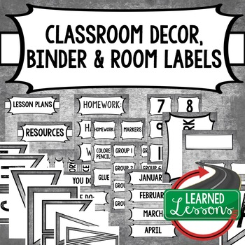 English Chalky Grey Binder Covers and Classroom Labels