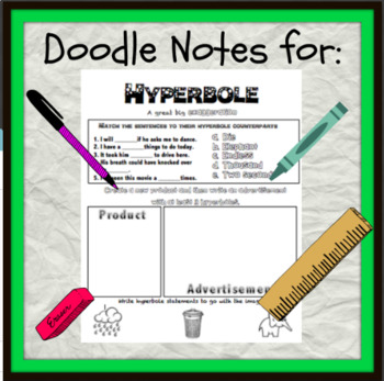 English Cheat Sheet Doodle Notes -Hyperbole
