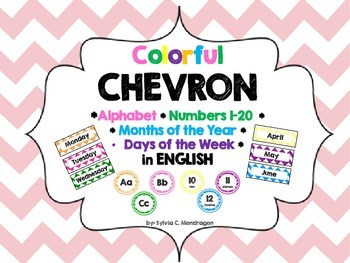 English Chevron Alphabet, Numbers 1-20, Days of the Week, Months of the Year