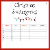 English Christmas Scattergories Game