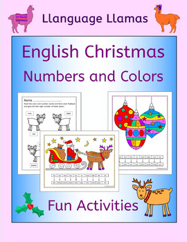 Christmas number and color activities for EAL EFL ESL