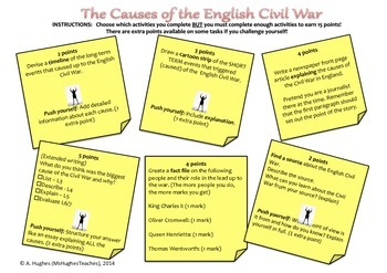 English Civil War Causes-choose your own assignment. Homew