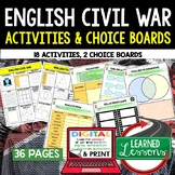 English Civil War Activities, Choice Board, Print & Digital, Google