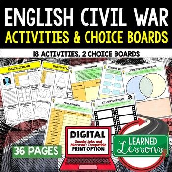 English Civil War Activities, Choice Board, Print & Digital, Google