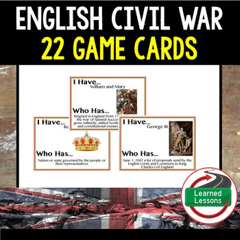 English Civil War Game Cards (World History)