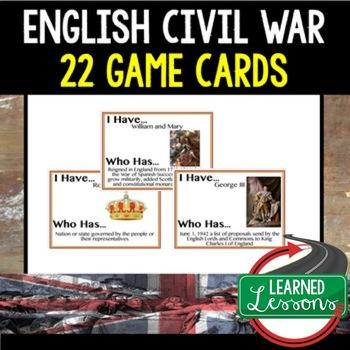 English Civil War Game Cards, World History Test Prep
