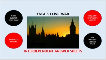 English Civil War: Interdependent Answer Sheets Activity