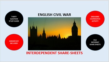 English Civil War: Interdependent Share-Sheets Activity
