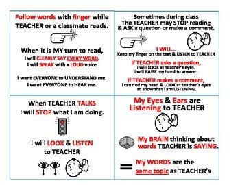 English Class Listening Rules Visual Aids
