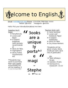 English Class Syllabus *editable*