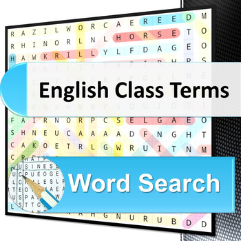 English Class Terms word search puzzle
