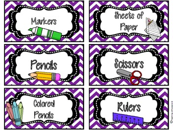 English Classroom Art Supply Labels with Graphics