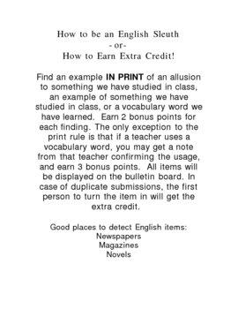 English Classroom Bulletin Board idea- How to Be an English Sleuth