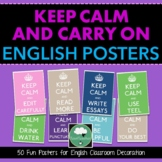 English Classroom 'Keep Calm & Carry On' Secondary English Posters x14