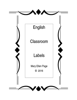 English Classroom Labels