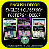 English Classroom Posters Decor BUNDLE ELA High School ELA Display Terms Quotes