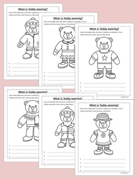 English Clothing and Colors - Teddy Bear Activity -  for ESL, EAL, EFL
