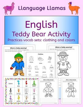 English Clothing and Colors - Teddy Bear Activity -  for E