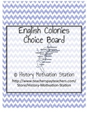 English Colonies Choice Board Assessment