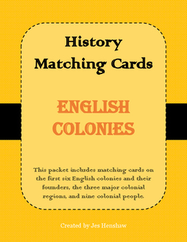 English Colonies Matching Cards Review