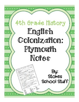 English Colonization:  Plymouth Notes