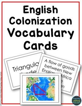 English Colonization Vocabulary Task Cards