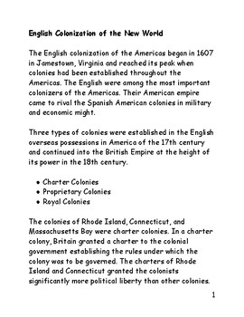 English Colonization of the New World