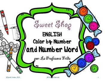 English Color By Number and Color By Number WORD, Sweet Shop!