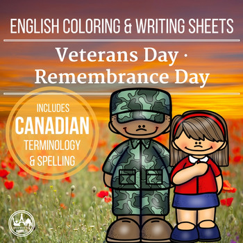 English Coloring & Writing Remembrance / Veterans Day Mini Pack