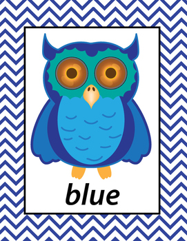 English Colors Owls Printable Posters