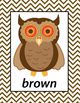English Colors Owls Printable Posters