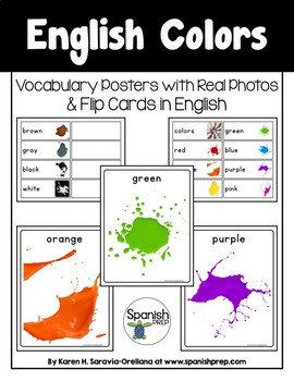 English Colors Vocabulary Posters & Flip Cards - FREEBIE